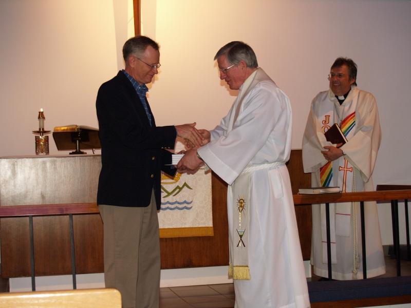 2014-06-15 CLC Pastor Charles Gustafson 35th Ordination anniv serv with Bill Sherman P6158430