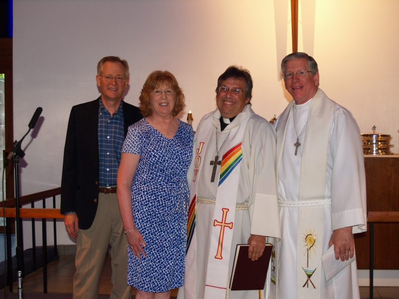 2014-06-15 CLC Pastor Charles Gustafson 35th Ordination anniv serv with BillSherman Kathy RevTimothyYeadon P6158431