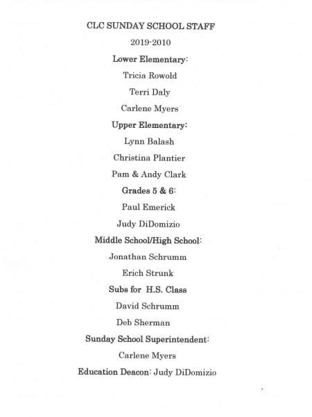 Sunday School Staff 2019 - 2020